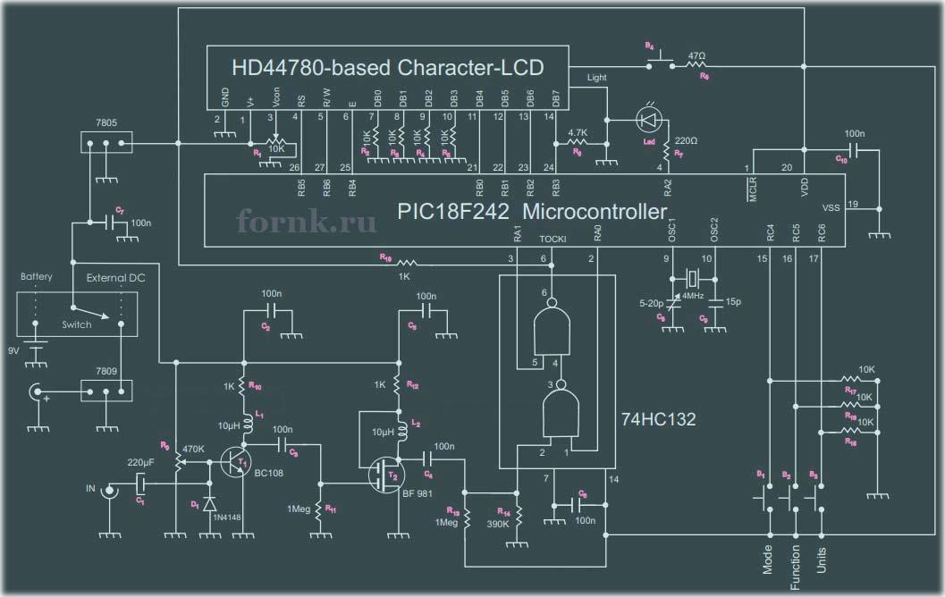 Частотомер 50 МГц на микроконтроллере PIC18F242. Схема и описание