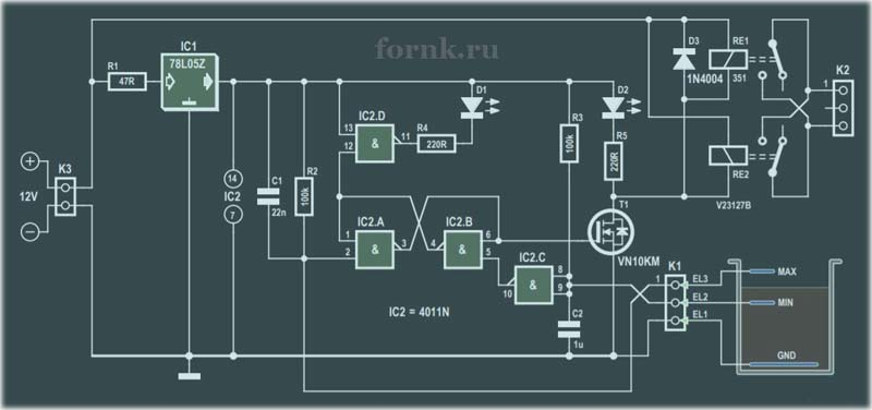 Контроллер дренажного насоса с определением уровня воды. Схема