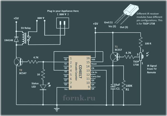 Очень простая схема ИК дистанционного управления электроприборами на CD4017