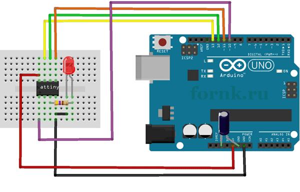 Программирование микроконтроллеров ATtiny с помощью Arduino Uno - схема