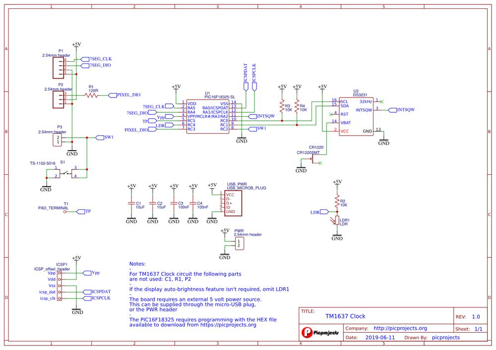 Простые 7-сегментные светодиодные часы Схема