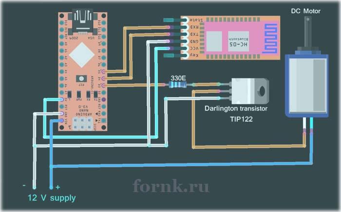 Управление скоростью двигателя с помощью Android приложения Bluetooth Electronics